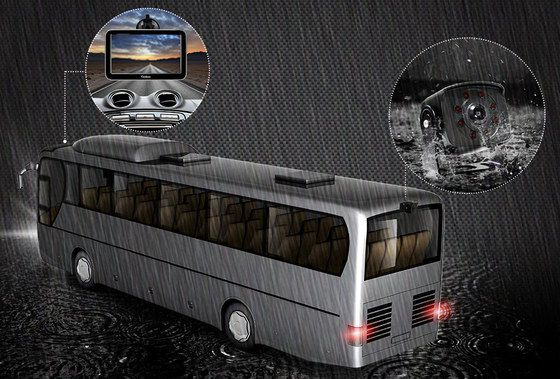 Motorhome Rearview Back-Up Camera In Rainfall