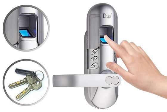 Fingerprint Door Lock In Chrome Steel