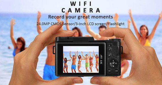 Compact Camera With WiFi With Flip Style Screen