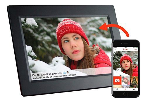 WiFi Digital Photo Frame With Black Smartphone