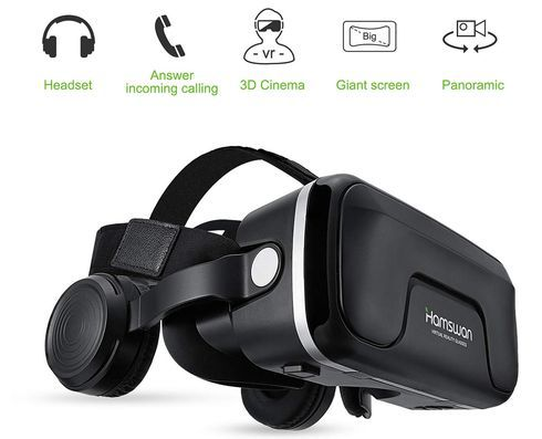 VR Headset With Black Over Ear Style Headphones