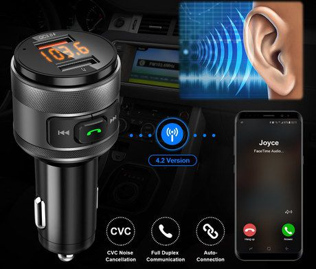 FM Transmitter Bluetooth Adapter In Black