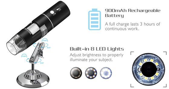 WiFi Portable Microscope With Bright LEDs