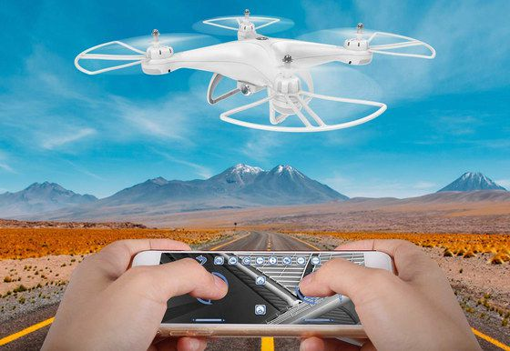 Quadcopter Drone With Camera In All White
