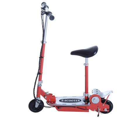 Fold-Up E-Scooter In Bright Red