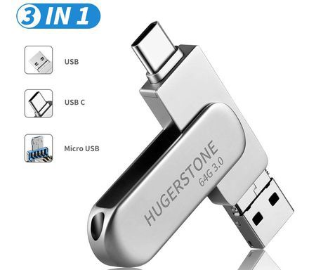 Micro USB Thumb Drive In Steel Finish