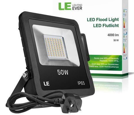 50W LED Floodlight With Black Cable