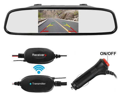 Car Mirror Camera With Black Transmitter