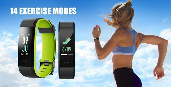 Heart Rate Fitness Tracker In Black And Yellow