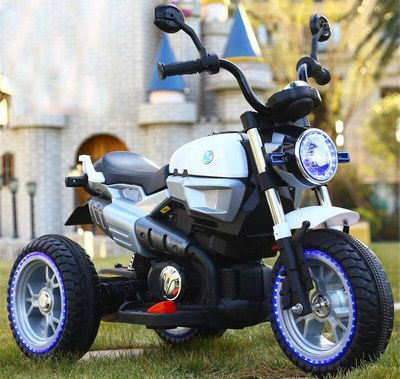 Kids Electric Motorcycle In Blue And White