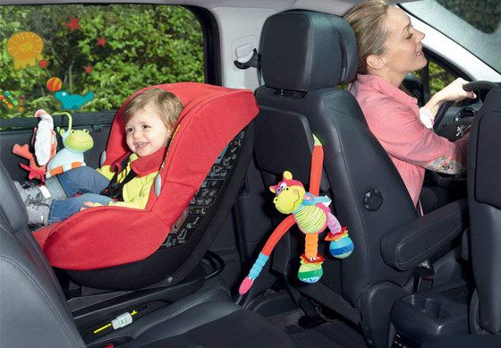 Rearward-Facing Car Seat With Red Cushion