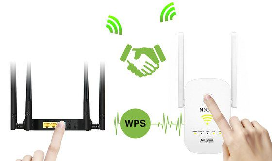 WiFi Extender With Finger On Pair Button
