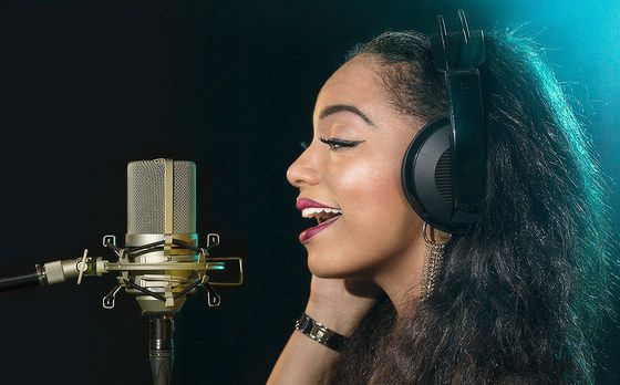 Gold Condenser Mic Used By Studio Singer