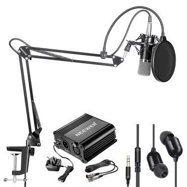 Professional Microphone Kit With Black Earbuds