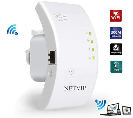 WiFi Booster Extender In White Curved Shape