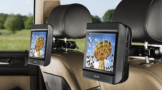 Dual Portable DVD Player On Car Headrest
