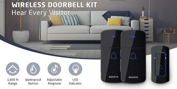 Black Wireless Doorbell Kit With LED Signal