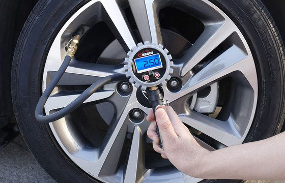Tyre Pressure Gauge With Inflator Showing Blue LCD Screen