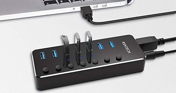 USB Port Hub With Black Switches