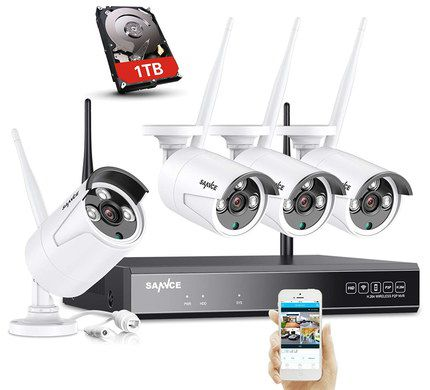 CCTV With 4 White Cams And Mobile