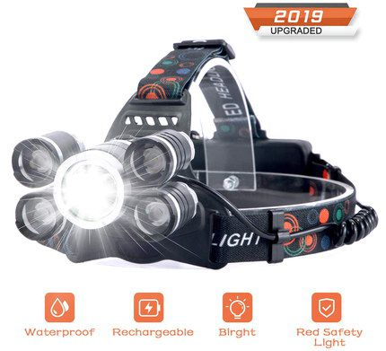Head Light For Runners With Red LED