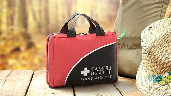 First Aid Kit With Black Straps
