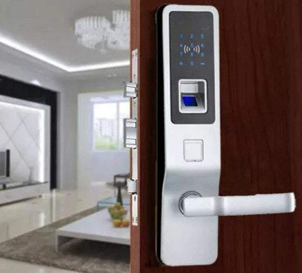 Zinc Biometric Door Lock In Silver Finish