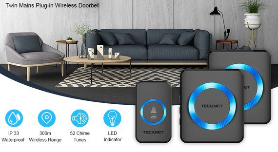Black Wireless Doorbell Kit With Blue LED