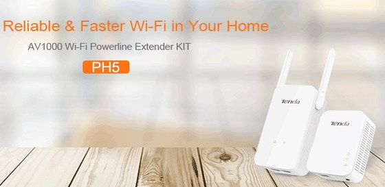 Plug In WiFi Extender In White On Wood Desk
