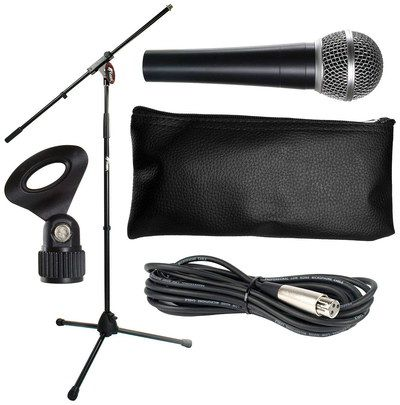 Microphone Stand Set With Long Black Cables