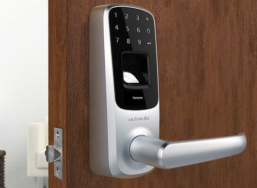 Fingerprint Lock In Satin And Nickel Finish