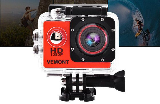 Action Video Camera For Bicycle With Red Front