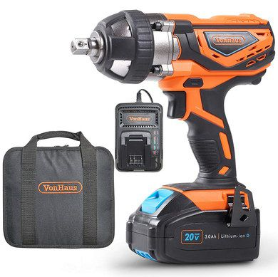 Battery Powered Impact Wrench With Red Grip
