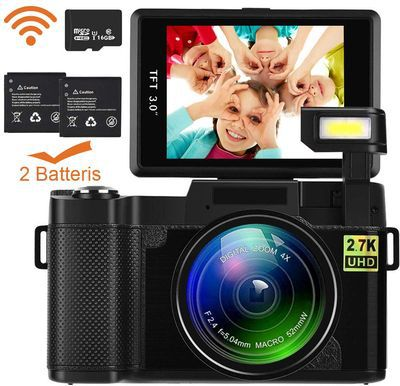 Camera With Flip Screen And Black Batteries