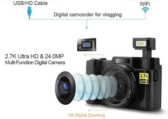 Pro WiFi Digital Camera With Camcorder Unit