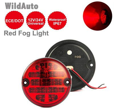 2 Red Round LED Fog Lamps