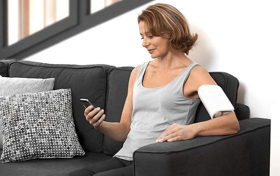 Wireless BP Kit In All White On Womans Arm
