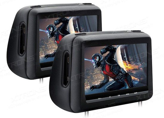 Headrest DVD Players In Black Leather Surround