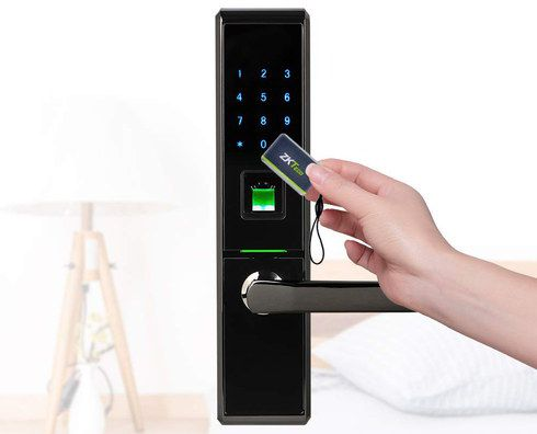 Slim Biometric Door Lock In Black Metal