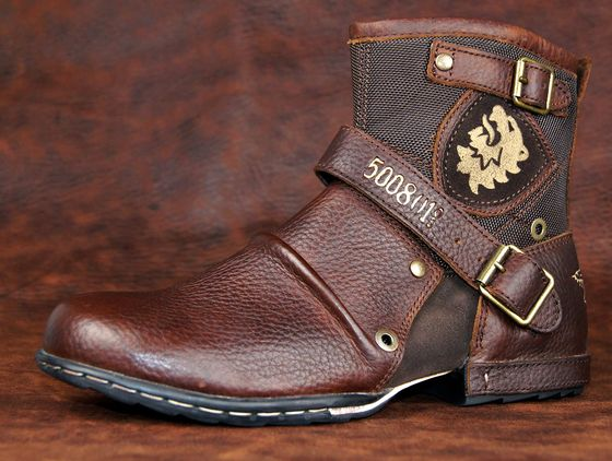 Casual Low Chukka Biker Boots In Brown
