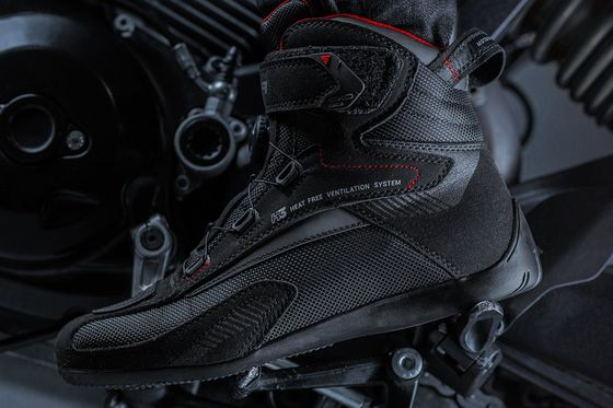 Vented Reinforced Biker Shoes With Slip Sole