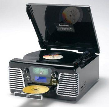 60's Style Nostalgic Stereo System Turntable In Black And Chrome Finish