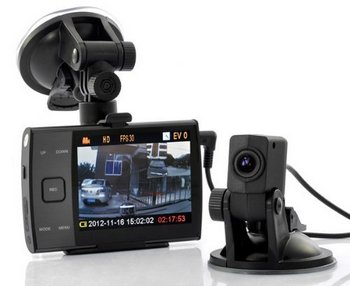 LED Front/Back Car DVR In Black With Holder