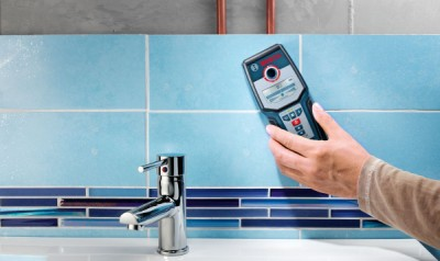 Live Wire And Pipe Scanner In Blue, In Bathroom