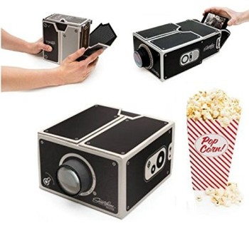 Cardboard Mobile Phone Projector In Black With Popcorn
