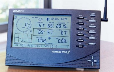 Wireless Weather Station In Blue Showing Display Screen