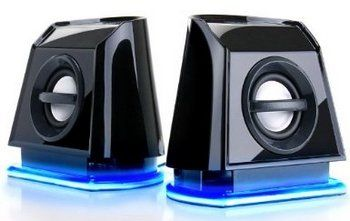 PC Speakers Showing Blue Base