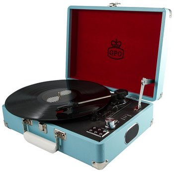 Vinyl Record Turntable In Light Blue With Handle