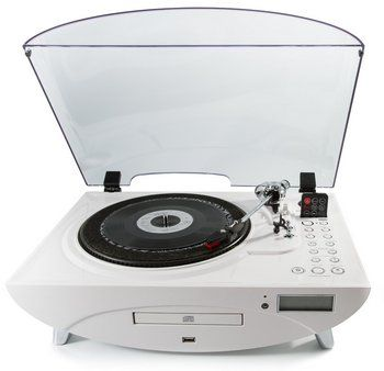 Standalone Turntable Stylish Vinyl Player In All White Finish