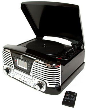 Turntable CD, Radio, Vinyl Player In Black And Crome Finish